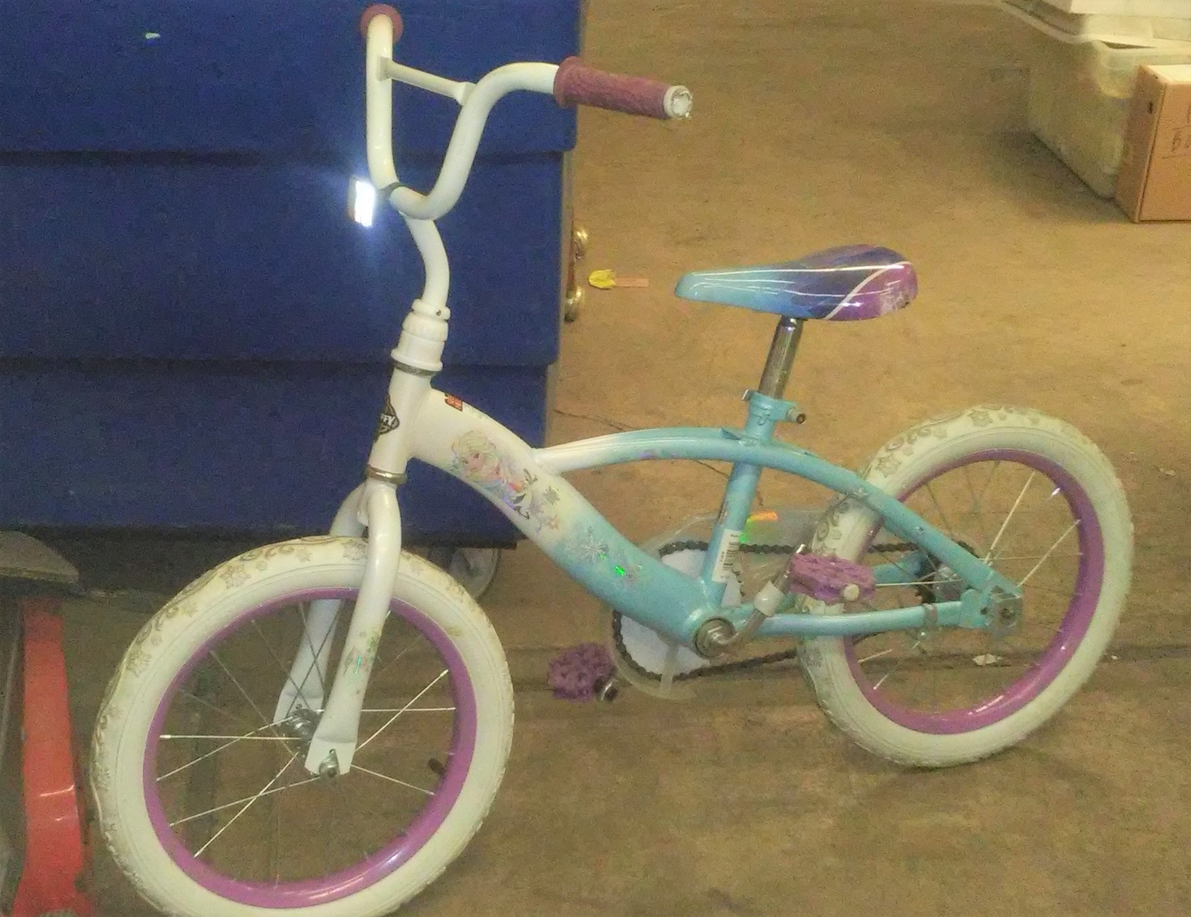 Kids' Disney Frozen Bike For Sale - Light Blue & Purple - Training Wheels Not Included - Used