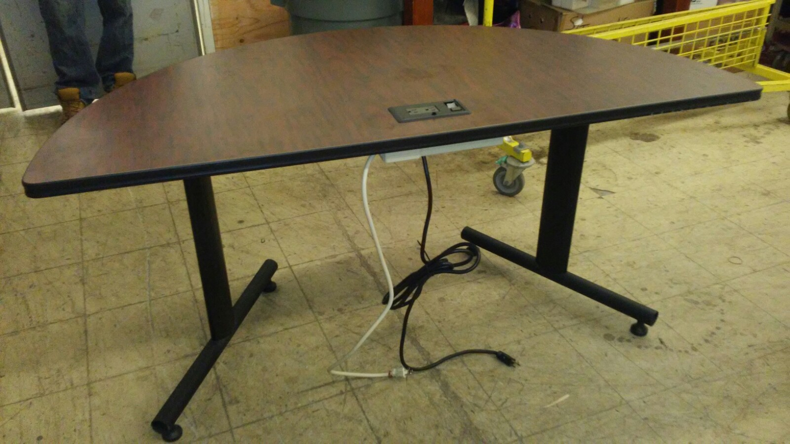 Crescent/Half Circle Computer Desk For Sale w/ Outlet & Plug - 5ft at Longest Length - 29 Inches at Longest Width - 29 Inches from Ground - Used 2 Available